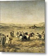 Threshing Wheat In Algeria Metal Print