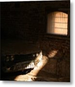 Through The Bars Of The Barn I Lie Metal Print