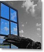 Through The Looking Glass Blue Metal Print