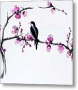 Thumb Bird In Plum Blossom Metal Print