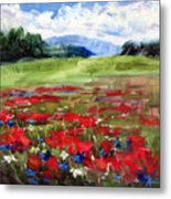 Thunder Clouds Over Bavarian Meadow Metal Print