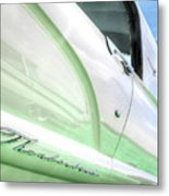 Thunderbird Abstract In Mint And White Metal Print