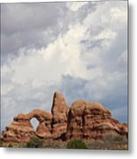 Thunderstorm Clouds Over Turret Arch Metal Print