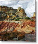 Thunderstorms Pass Over The Spectacular Formations Of White Pocket, Arizona. Metal Print