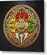Tibetan Double Dorje Mandala Metal Print