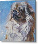 Tibetan Spaniel In Snow Metal Print
