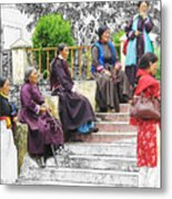 Tibetan Women Waiting Metal Print