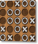 Tic Tac Toe Wooden Board Generated Seamless Texture Metal Print