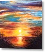 Tide Marsh Sunset Metal Print