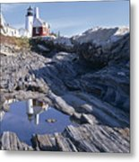 Tide Pool Reflection Pemaquid Point Lighthouse Maine Metal Print
