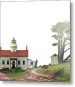 Tides Of Battery Point Lighthouse - Northern Ca Metal Print