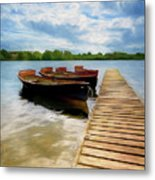 Tied To The Jetty Metal Print