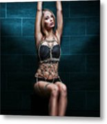 Tied Up Girl - Rope Harness Artwork - Fine Art Of Bondage Metal Print