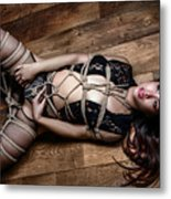 Tied Up, On Floor - Fine Art Of Bondage Metal Print
