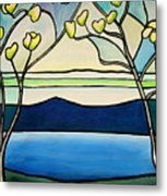 Tiffany And Blossoms Stained Glass Metal Print