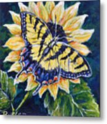 Tiger And Sunflower Metal Print