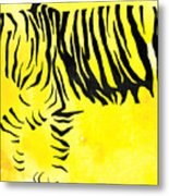 Tiger Animal Decorative Black And Yellow Poster 2 - By Diana Van Metal Print