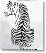 Tiger Animal Decorative Black And White Poster 4 - By  Diana Van Metal Print