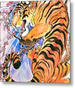 Tiger In Cherries Metal Print by Jenn Cunningham