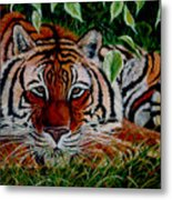 Tiger In Jungle Metal Print
