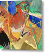 Tiger In The Jungle By Franz Marc Red And Yellow Tiger On The Prowl Metal Print