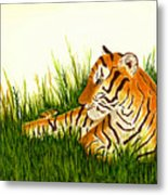 Tiger In Wait Metal Print