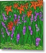 Tiger Lilies And Purple Hostas Metal Print