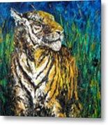 Tiger Night Hunt Metal Print