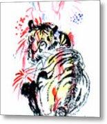 Tiger Siesta Metal Print