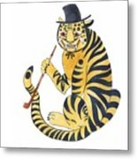 Tiger With Pipe Metal Print