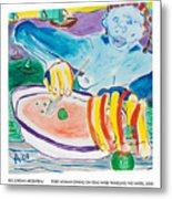 Tiger Woman Dining On Peas While Traveling The Water Metal Print