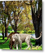 Tigers By The City Metal Print