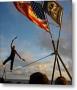 Tight Rope Walker In Key West Metal Print