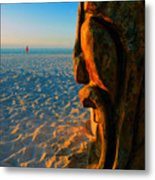 Tiki And The Woman In The Pink Towel Metal Print