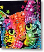 Tilted Cat Warpaint Metal Print by Dean Russo