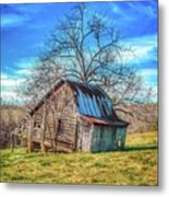 Tilted Log Cabin Metal Print