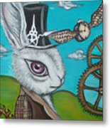 Time Flies For The White Rabbit Metal Print by Jaz Higgins
