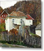 Time For Use The Stove. November In The Serbia. Metal Print