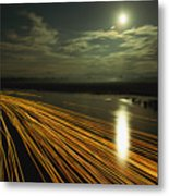 Time Lapse Of Lights From Boats Moving Metal Print