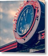 Time To Eat Neon Diner Clock Metal Print