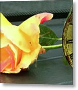Time To Give A Rose - Yellow And Pink Rose - Clock Face Metal Print