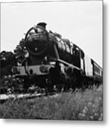 Time Travel By Steam B/w Metal Print by Martin Howard