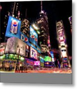 Times Square 2010 New Year Neon Metal Print