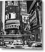 Times Square Black And White Metal Print