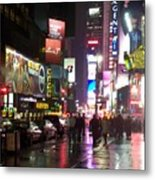 Times Square In The Rain 1 Metal Print