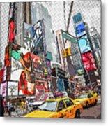 Times Square Pop Art Metal Print