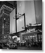 Times Square Subway Stop At Night New York Ny Black And White Metal Print