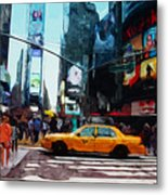Times Square Taxi- Art By Linda Woods Metal Print