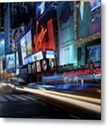 Times Square With Light Trail Metal Print