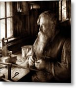Tin Smith - Making Toys For Children - Sepia Metal Print